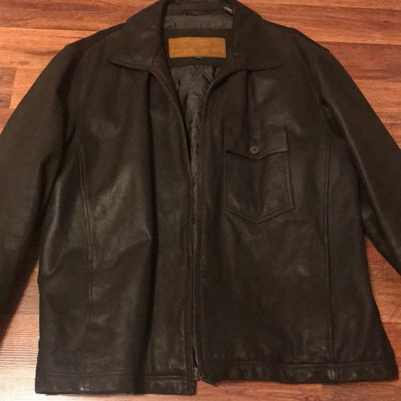 f874659d0 Brown Leather jacket. Timberland. Size L.